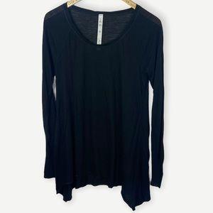 Lululemon Black Asymmetric Long Sleeve Tee Silk 8